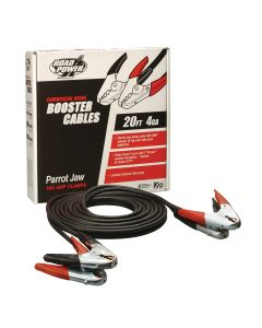 4 Gauge, 20 Foot Booster Cables with Parrot Jaw Clamp