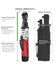 "ACDelco ARW12103-K8 G12 Series 12V Li-ion Cordless ?"" & 3/8"" Brushless Rachet Wrench Combo Tool Kit"