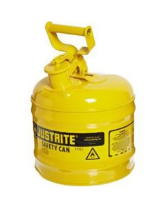 Yellow Metal Safety Can, Type 1, Two Gallon Capacity, for Diesel Fuel and Other Flammable Liquids