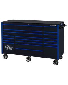 "Extreme Tools RX Series 72"" 19 Drawer 25"" Deep Roller Cabinet, 150 lbs. Slides, Black with Blue Drawer Pulls"