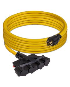 Power Cord L14-30P to 4x5-20R 25ft Extension 10 AWG with Circuit Breakers and Storage Strap