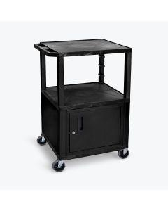 AV Cart; 3-Shelves and Cabinet w/ 400 lb. Capacity