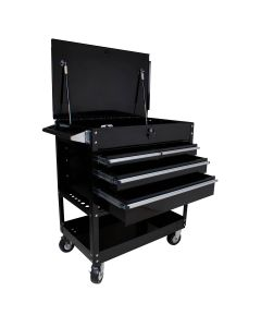 4 Drawer Professional Service Cart with Locking Top, Black