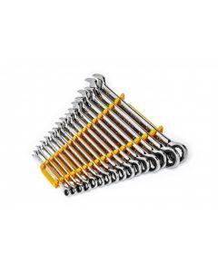 16 Pc. 90T 12-PT Metric Combi Ratchet Wrench Set