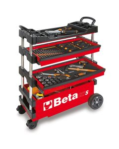Folding Mobile Tool Cart, Red