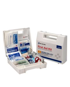 25 Person First Aid Kit, ANSI A, Plastic Case w/ Dividers