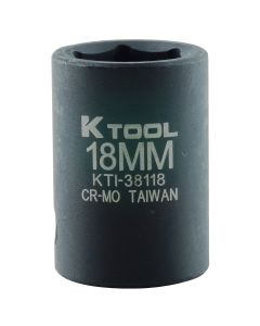 "18mm x 1/2"" Drive 6-Point Metric Short Chrome-moly Impact Socket (EA)"