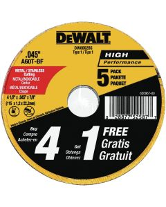 DeWalt 4-1/2 in. Type 1 Metal Cutting Wheels (Pack of 5)
