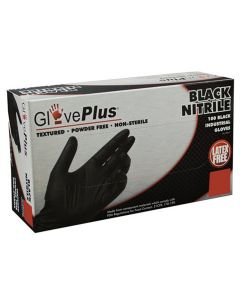 Gloveplus Powder Free Textured Black Nitrile Gloves - Large
