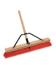 Indoor/Outdoor Push Broom, 24 in. Wide Block, with 3 in. Semi-Stiff Inner Synthetic Bristles, 60 in. Handle