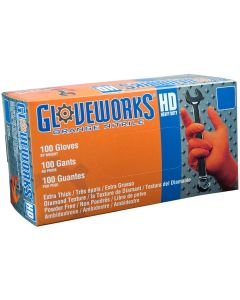 Gloveworks HD Orange Nitrile Gloves Large