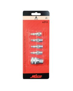 "5 PIece A-Style 1/4"" Coupler and Plug Kit"