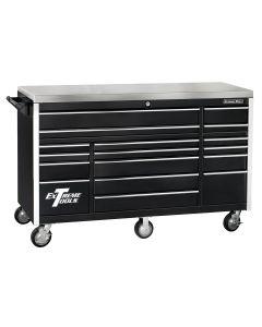 72 in. 17-Drawer Triple Bank Roller Cabinet, Black