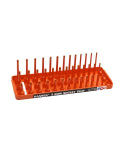 "1/4"" Metric 3-Row Socket Tray, Orange"