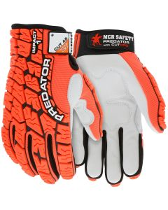 Predator Mechanics Gloves Cowskin leather palm with D3O padding Tire tread pattern TPR on Spandex back HyperMax cut resistant palm liner