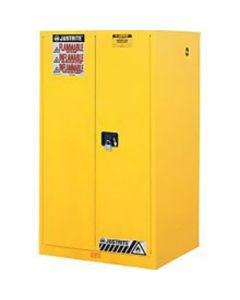 Justrite 896000 Sure-Grip EX Flammable Safety Cabinet, Capacity 60 Gallons, 2 Shelves, 2 Manual-Close Doors, Yellow