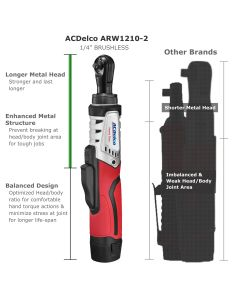 "ACDelco ARW1210-2P G12 Series 12V Cordless Li-ion ?""? 45 ft-lbs. Brushless Ratchet Wrench Tool Kit"