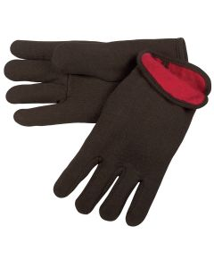 Brown Jersey Glove with Clute Pattern, Red Fleece Lined