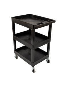 "Plastic Utility Cart w/ HD Casters, 24"" x 18"", Black"