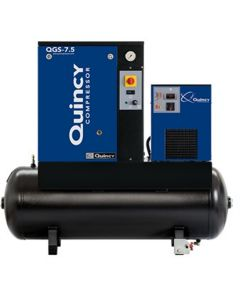 Quincy QGS 7.5-HP 60- Gallon Tank Mounted Rotary Screw Air Compressor With Dryer 230/1/60