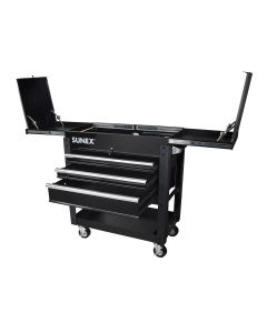 3 Drawer Utility Cart with Sliding Top, Black