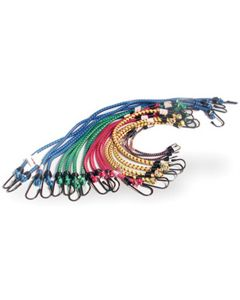 """Bungee Cord Assortment, 20 Piece, 4 each of 10"""", 18"""", 20"""", 24"""", 30"""", with Plastic Coated Hooks"""