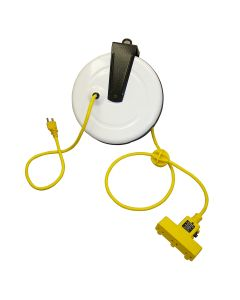 Power Supply Reel with 30' Cord, Triple Receptacle and Circuit Breaker