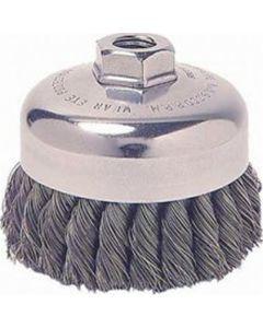 "Wire Cup Brush, 3-1/2"" Diameter, .014 Crimped Wire, 3/8"" - 24 Threaded Arbor, 13,000 RPM Max"