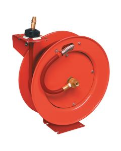 Lincoln Steel Air Reel with 50 ft. x 3/8 in. Rubber Air Hose, Red