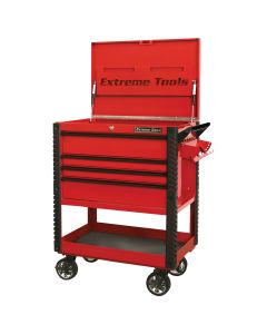 33 4-Drawer Deluxe Tool Cart w/Bumpers, Red w/Black Quick Release-Drawer Pulls