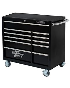 41 in. Deluxe 11-Drawer 24 in. Deep Roller Cabinet, Black