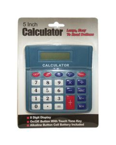 Large Button Calculator, Eight Digit Display, On/Off Button, Alkaline Button Battery Included