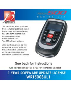 1 Yr Software Certificate for the Tech500 TPMS too