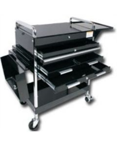Sunex Tools Deluxe Service Cart w/ Locking Top, 4-Drawers and Extension storage, Black