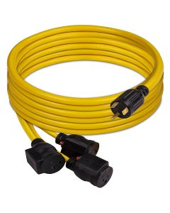 Power Cord TT-30P to 3 x 5-20R 25ft Extension 10 AWG and Storage Strap