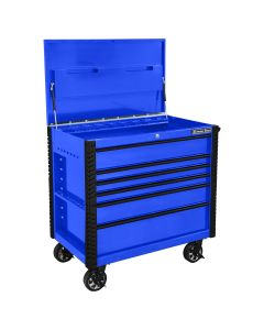 41 in. 6-Drawer Tool Cart w/Bumpers, Blue w/Black-Drawer Pulls