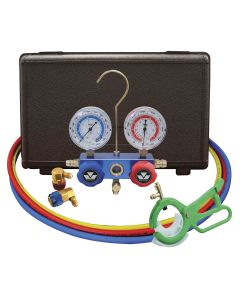 R134a Aluminum Manifold Gauge Set with FREE 85530 3-in-1 Side Can Tap