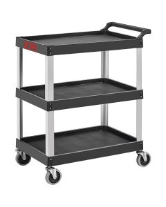 Professional Tool and Work Cart, 3-Shelf Aluminum and Black Plastic