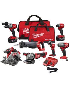 Milwaukee M18 7-Piece Combo Drivers/ Saws/ Impact Wrench/ Light/ Grinder with (2) XC Batteries Kit