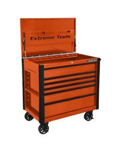 41 in. 6-Drawer Tool Cart w/Bumpers, Orange w/Black-Drawer Pulls