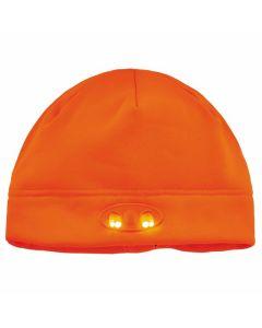 6804 Orange Skull Cap Beanie Hat with LED Lights