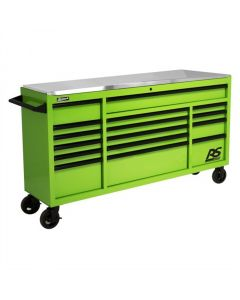 """72"""" RS Roller Cabinet Green Stainless Steel Top"""