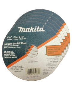"Makita 4 1/2"" x 7/8"" x 3/64"" Super Thin Metal Cut Off Wheel (Pack of 25)"
