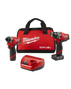 """2 pc. M12 FUEL 1/2"""" Drill and 1/4"""" Hex Impact w/ (2) Batteries Kit"""