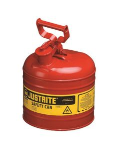 Justrite Manufacturing Metal 2 Gallon Gasoline Container / Gas Can, Type-1 Safety, Red