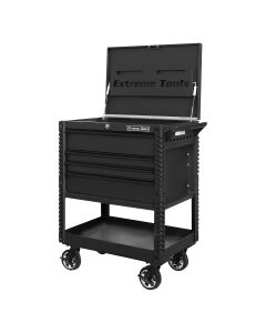 33 4-Drawer Deluxe Tool Cart w/Bumpers, Matte Black w/Black Quick Release-Drawer Pulls
