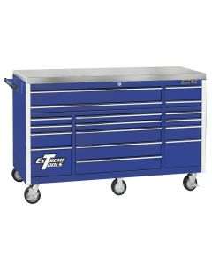 72 in. 17-Drawer Triple Bank Roller Cabinet, Blue