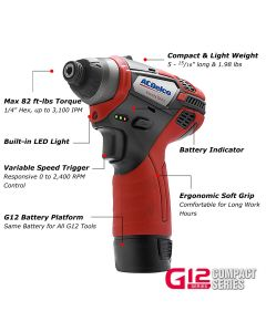 "ACDelco ARI12105-K5 G12 Series 12V Cordless Li-ion 3/8"" 2-Speed Drill Driver & ?""? Impact Driver Combo Tool Kit with 2 Batteries"
