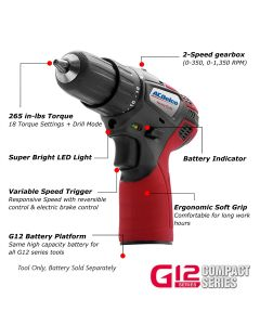 "ACDelco ARD12119T G12 Series 12V Cordless Li-ion 3/8""? 265 In-lbs. Compact Drill Driver - Bare Tool Only"