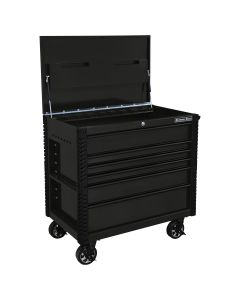 41 in. 6-Drawer Stainless Steel Slider Top Tool Cart with Bumpers, Matte Black with Black-Drawer Pulls